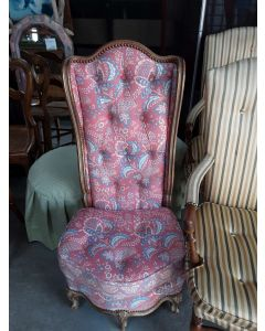 FAUTEUIL TISSU ROSE CLOUTE STYLE LOUIS XV