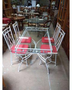 TABLE PIEDS ACIER DESSUS VERRE+4CHAISES